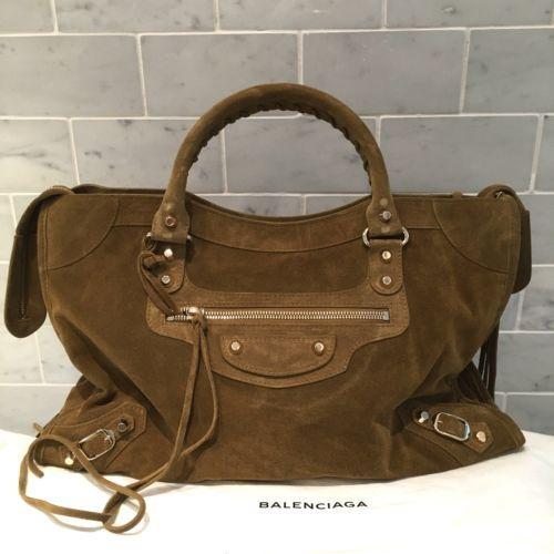 Balenciaga Classic City Suede Beige Fauve Bag...