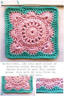 For edging only, need pattern from Jan Eaton's 200 Crochet Blocks for Blankets, Throws and Afghans book
