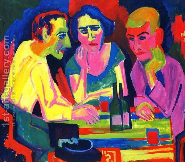 Tres figuras en una mesa - Hermann Scherer