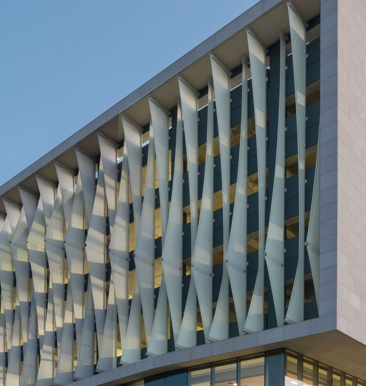 Vertical PTFE VCP shade sails fins create dynamic look