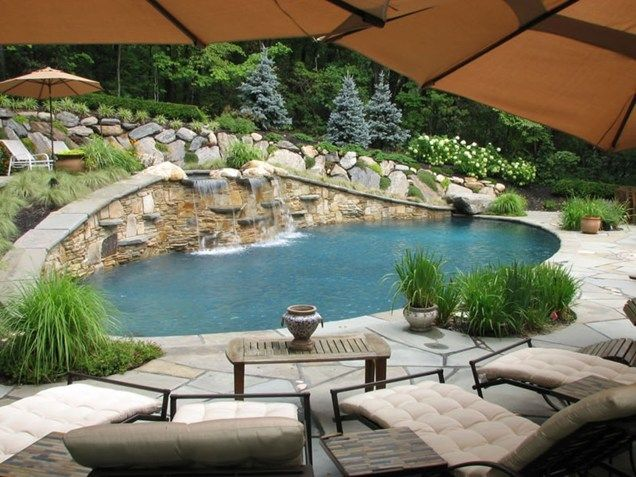 Swimming Pool Waterfall Swimming Pool Sitescapes Landscape Design Stony  Brook, ...