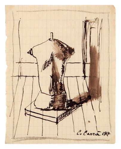 Carlo CARRA (1881 - 1966) ,Interno con busto di manichino, 1917