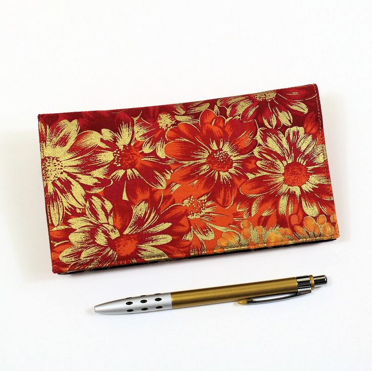 Orange Checkbook Cover for Duplicate Checks with Pen Holder, Gold and Orange Floral Cotton Fabric, Mums the Word Fabric by QuiltSewCover on Etsy