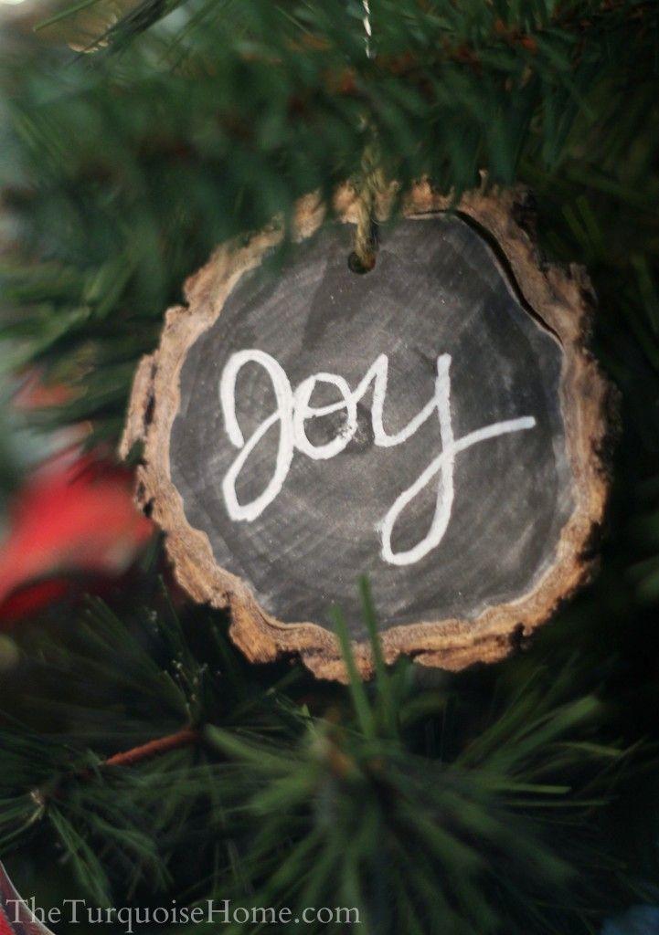 DIY Chalkboard Wood-Slice Ornaments | TheTurquoiseHome.com