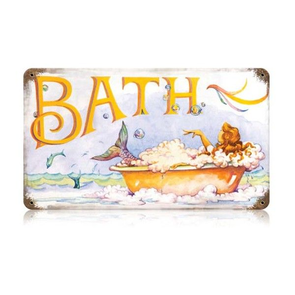 Mermaid Bath Vintage Tin Sign   Retro And Vintage Home Decor Gifts   FREE  SHIPPING Over