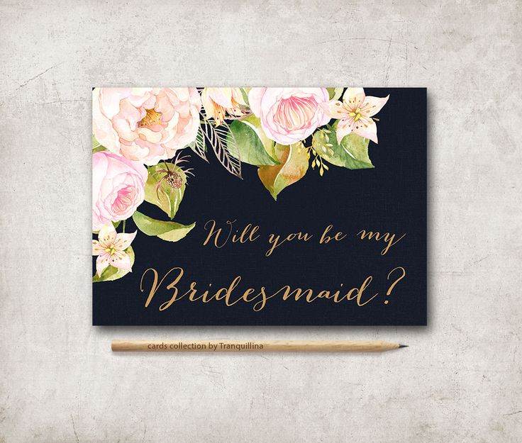 Will you be my bridesmaid Card Printable, Will you be my maid of honor, 5x7 - Floral Bridesmaid Invite - pinned by pin4etsy.com