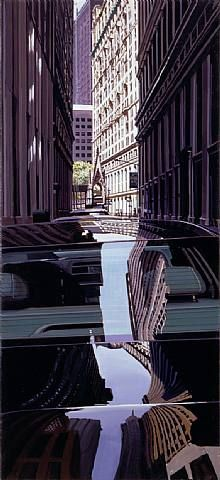 "Mirror Images - AQA art theme NYC. ""Pine Street and Broadway"" (2007) // painting by Richard Estes www.dunottarschool.com"