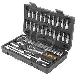 """Maleta de 46 piezas de llaves fijas con carraca de 1/4"""" de herramientas Tolsen  www.cablematic.es/producto/Maleta-de-46-piezas-de-llaves-fijas-con-carraca-de-1_slash_4_ampersand_quot%3B-de-herramientas-Tolsen/"""