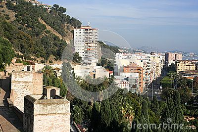 View from Alcazaba upon Malaga. Picture taken in december 2015.