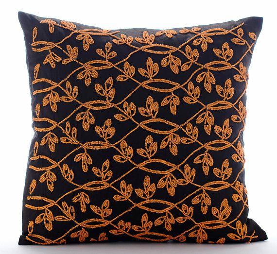 Orange Maple Leaf - 16x16 Orange Bead Embroidered Brown Silk  Throw Pillow.