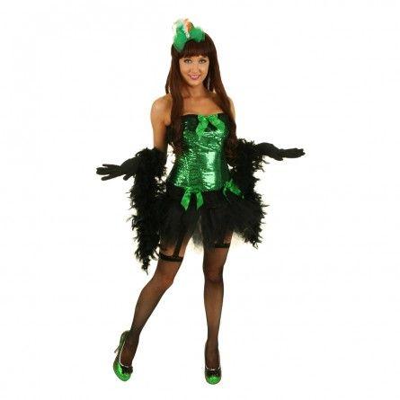 Womens Green Sequins Burlesque Costume
