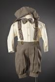 Boys Dark Taupe Checker Knickers with Hat