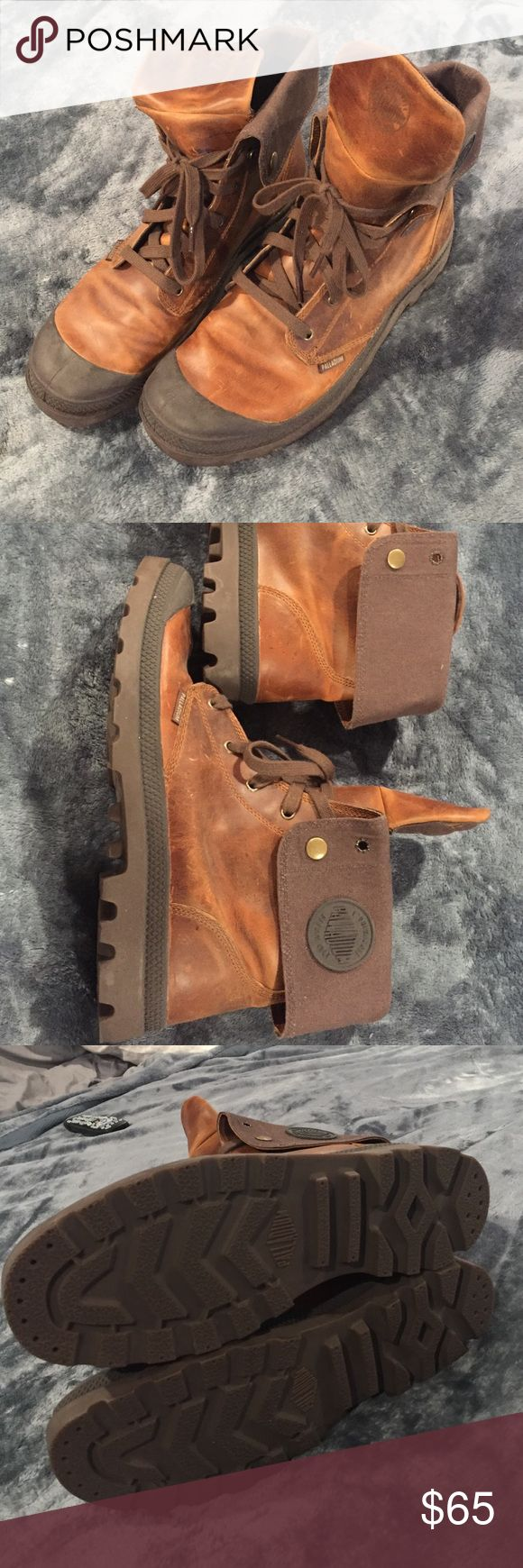 Mens Size 13 Palladium Boots. Medium brown See picture, rubber soles are perfectly in tact. They've been sitting in the closet. Pretty much new without tags. Medium brown, dark brown fold over, rubber toe. Mens Size 13. Sorry, no trades at the moment. Palladium Shoes Boots