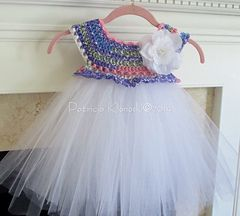 Empire Waist Crochet Tutu Dress with Cluster Pearl Detail - I have to make this dress.... LOVE IT!!!