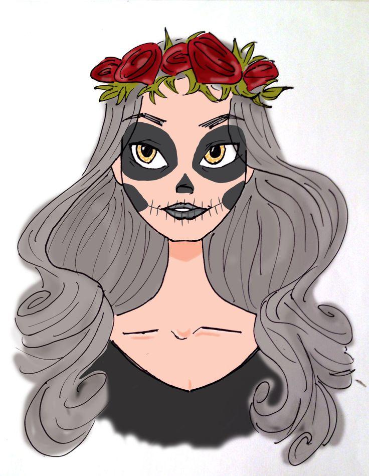 Illustration Girl Roses Halloween Photoshop Skull