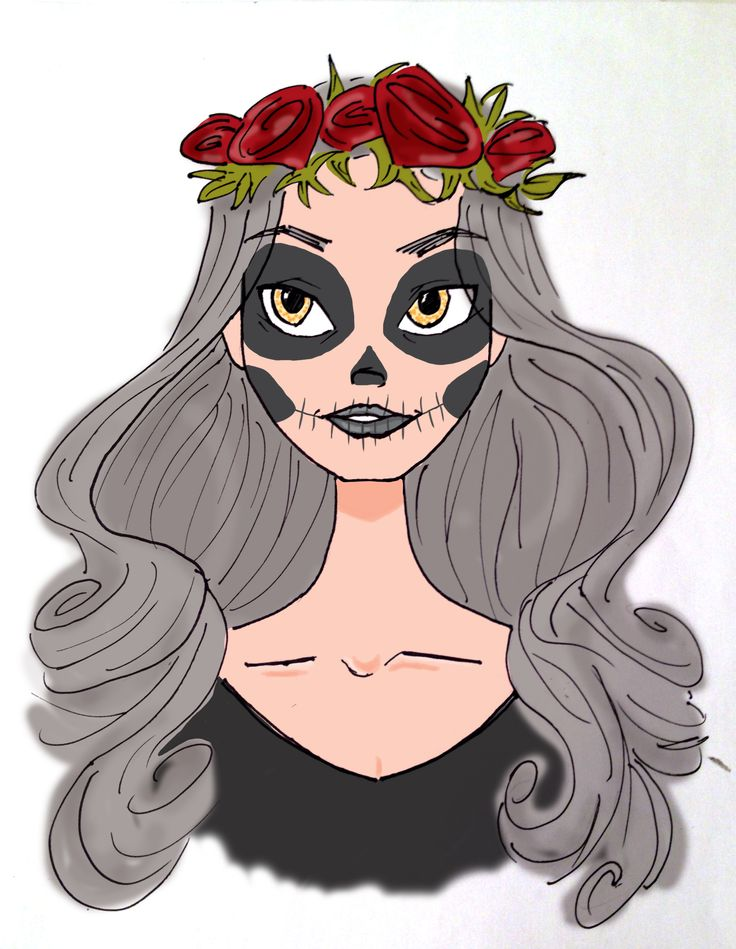 Illustration Girl Roses Halloween Photoshop Skull