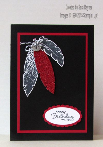 Four feathers with a bit of bling, using supplies from Stampin' Up! www.craftingandstamping.com #stampinup