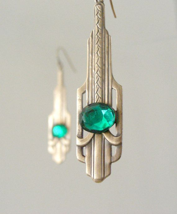 Art Deco Earrings   Emerald Green by chloesvintagejewelry on Etsy, $24.80