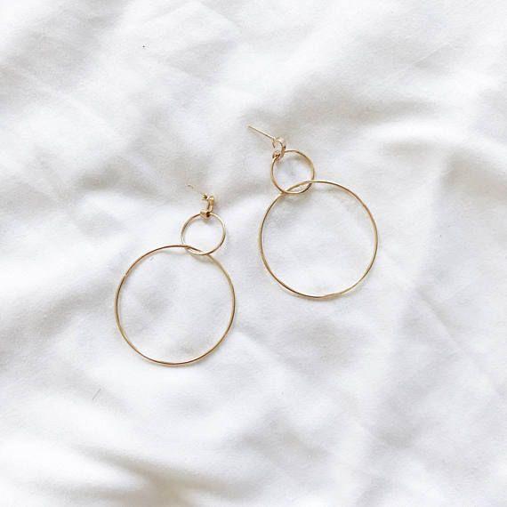 Gold Hoop Earrings / Double Gold Tassel Earring / Gold