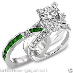 2.75 CT UNIQUE ENGAGEMENT RING BRIDAL SET ROUND DIAMOND & EMERALD BAND Buy It Now $5,449.00