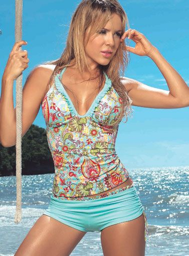 "Turquoise Floral Tankini. A good ""mom suit"" for the water park."