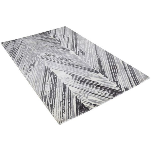 Rhythm Grey & White Wool Rug ($222) ❤ liked on Polyvore featuring home, rugs, white rug, hand woven wool rugs, zig zag rug, grey chevron area rug and gray chevron rug