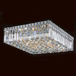 """Contemporary 4 light Polished Chrome Finish with Faceted Crystal Ball Prism 12"""" Square Flush Mount Ceiling Light 