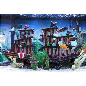 Large Striped Sail Shipwreck Aquarium Decoration
