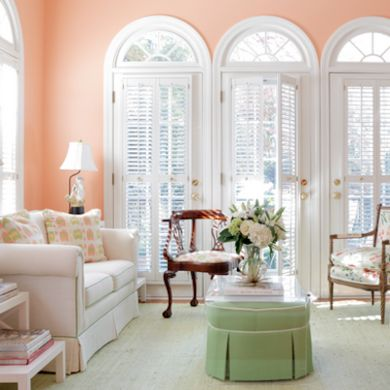 Peach Paint Color For Gracious Living Room