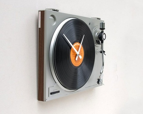 reloj_con_forma_de_tocadiscos: Music, Ideas, Time, Stuff, Turntable Clock, Wall Clocks, Design