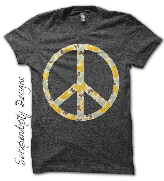 Peace iron on shirt hippie transfer nursery