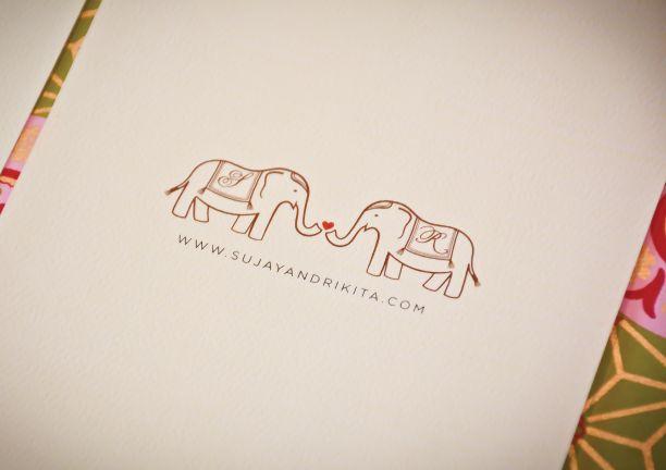 Modern vintage Indian wedding invitations, elephants by oliveandviolet.com