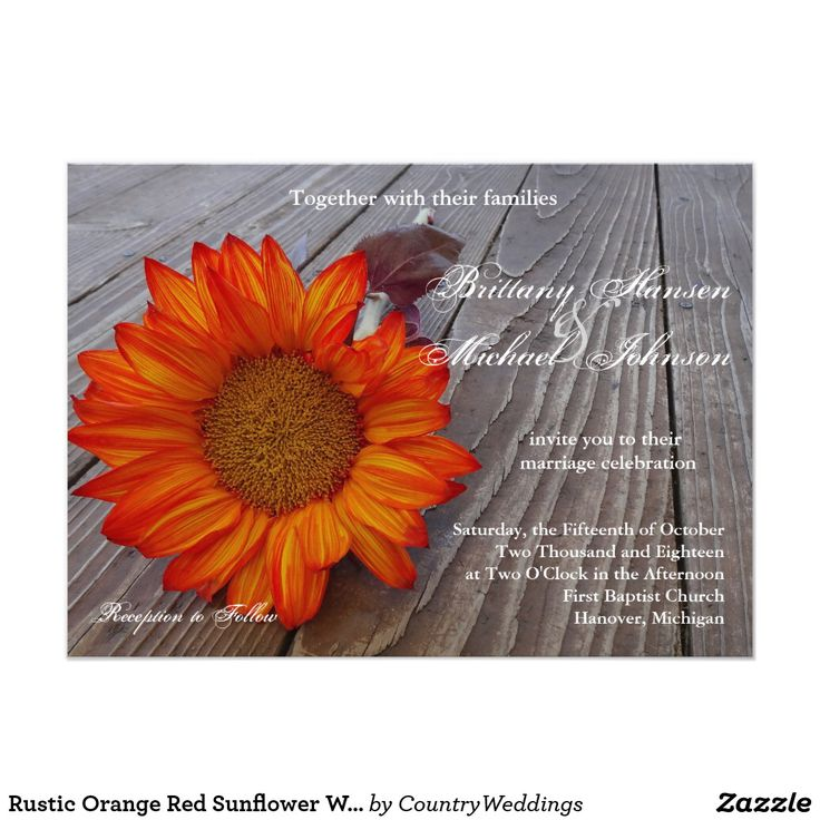 Rustic Orange Red Sunflower Wedding Invitation