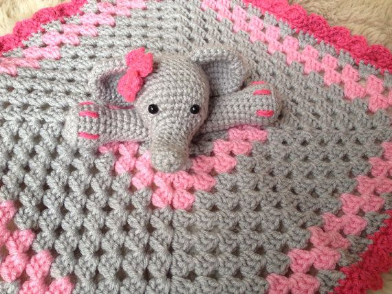 Free Crochet Pattern Baby Gifts : Crochet Elephant Lovey, Security Blanket, baby shower gift ...