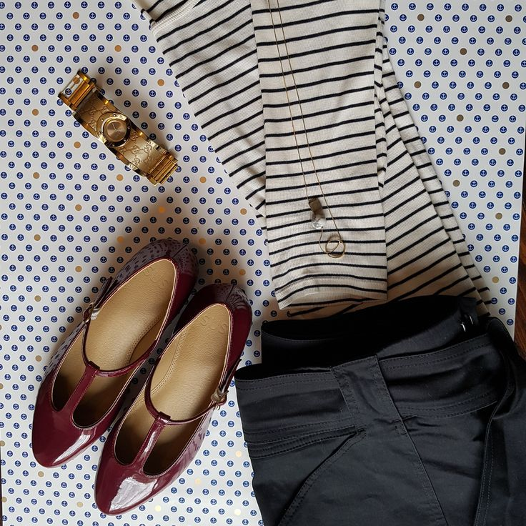 Nautical adventures - Matilda flats in burgundy, chunky watch, striped shirt, short shorts.