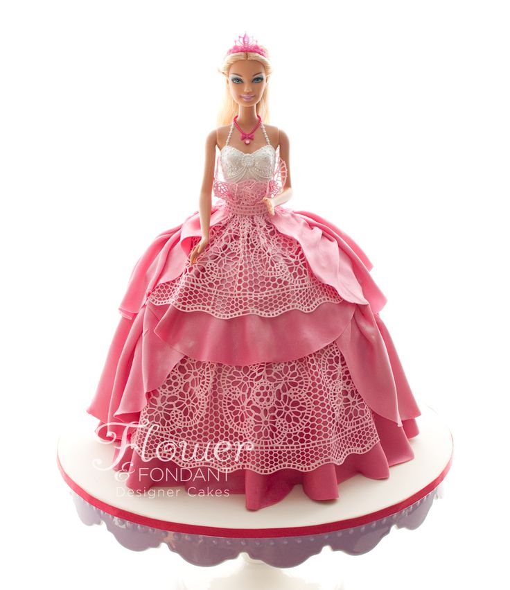Pink & Lace Dolly Varden Cake - Had fun yesterday playing dress ups with a Barbie, something I haven't done in a very long time. I've still got the touch though, right? I hope the Birthday girl loved her as much as I do!  The cake was strawberry swirl butter cake layered with strawberry buttercream.