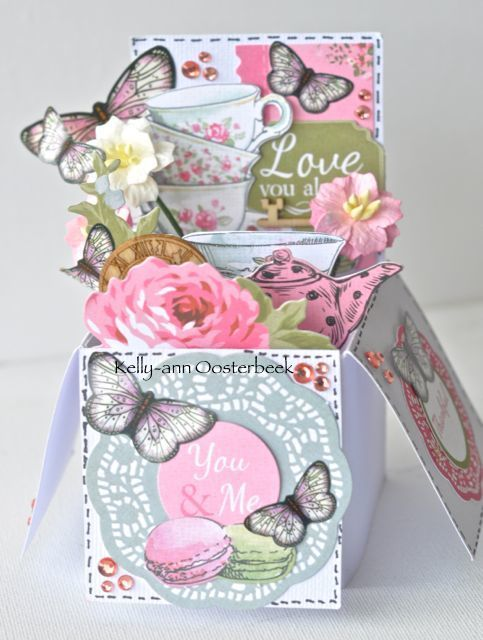 A Box Card by Kelly-ann Oosterbeek made using the High Tea Collection from Kaisercraft and Imaginarium Designs Chipboard www.kellyanno.com