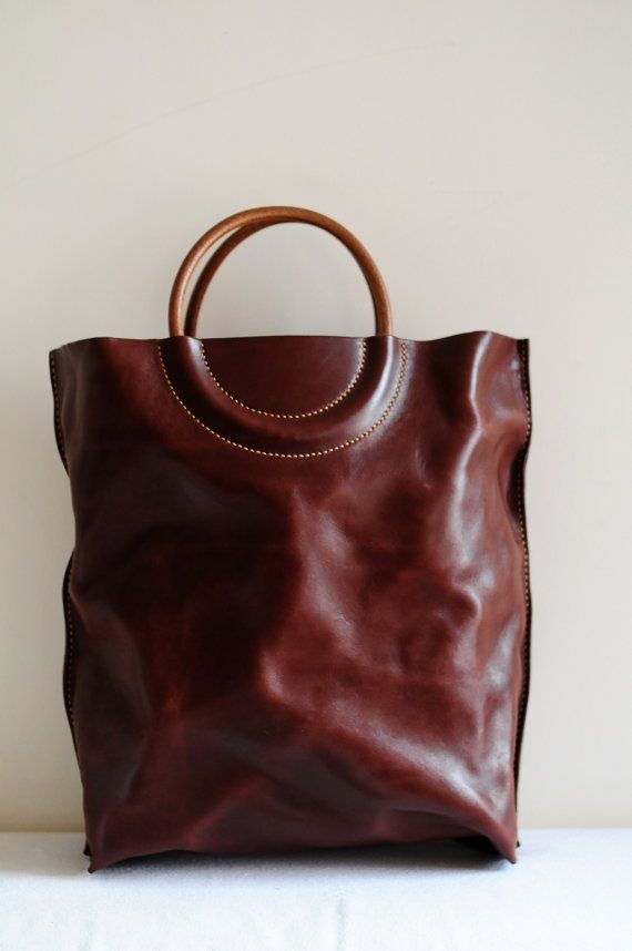 hand stitched washed-out leather tote ArtemisLeatherware on etsy