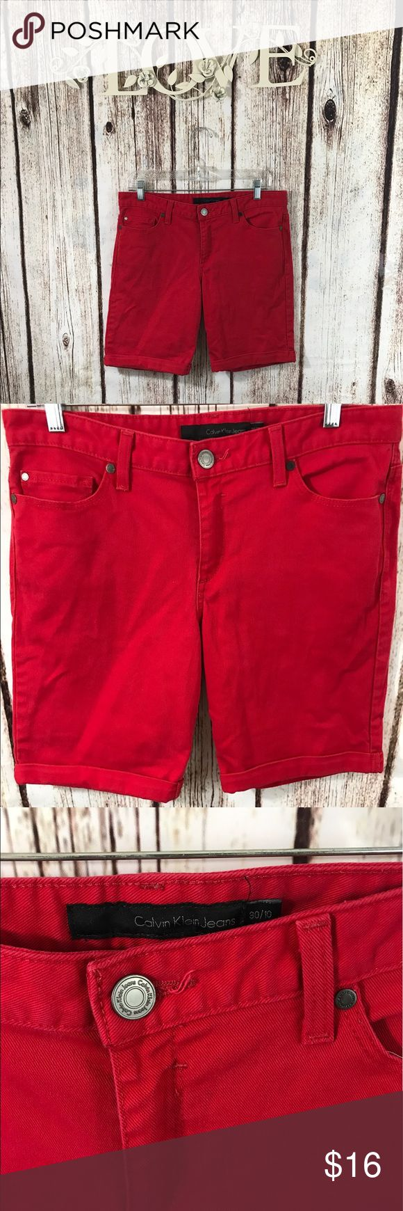 Ck fire engine red Bermuda shorts Nice pair of red ck shorts in gods condition size 30-10 Calvin Klein Shorts Bermudas