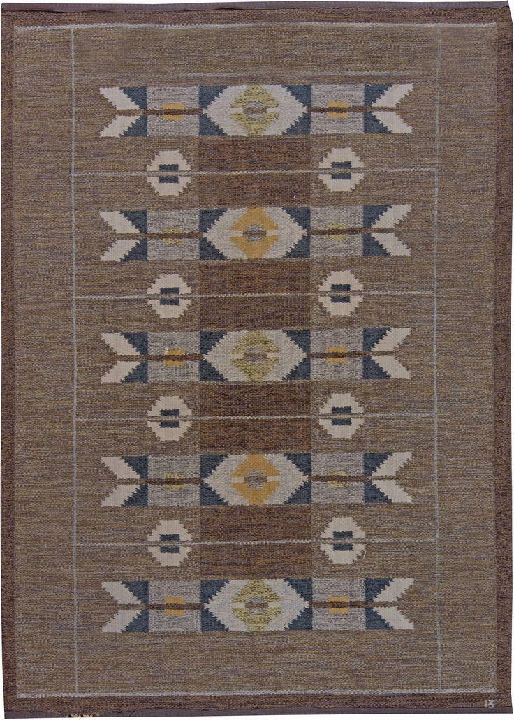 Vintage Swedish Flat Weave Rug by Ingegerd Silow
