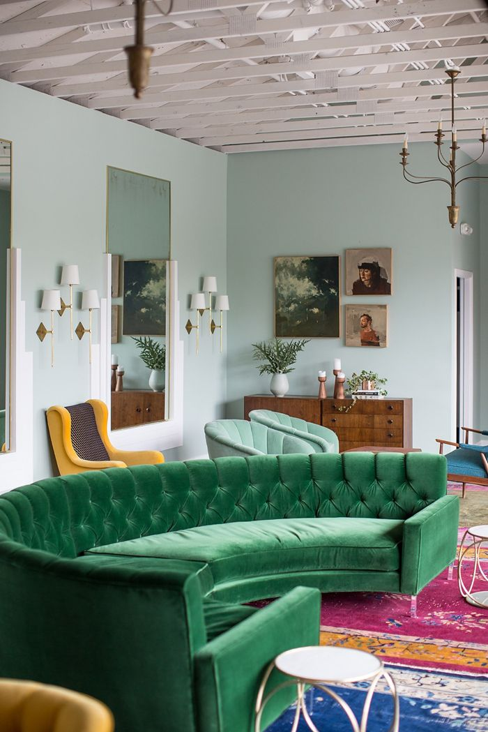 Coveting the emerald velvet 60's inspired couch - this look embodies mod chic