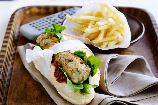 Have some fun with these cheeky chicken sausage burgers served with creamy mayo and sundried tomato pesto
