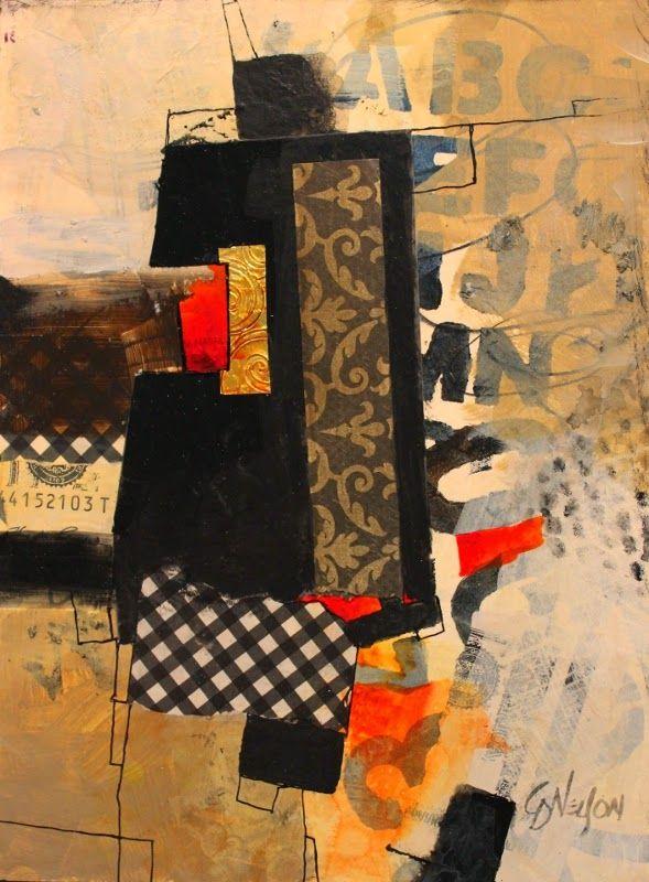"CAROL NELSON FINE ART BLOG: ""Billboard 3"" mixed media abstract collage © CArol Nelson Fine Art"