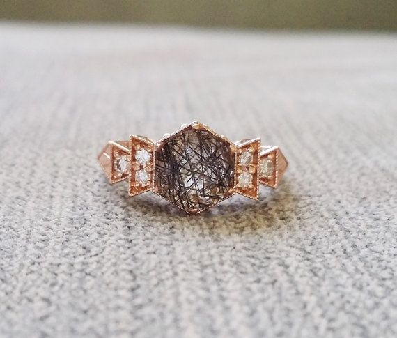This Stunning Exclusive PenelliBelle Design Features an Art Deco Style 14K Rose Gold Setting. Low Profile Set with a 1.15 Rutilated Quartz and .24