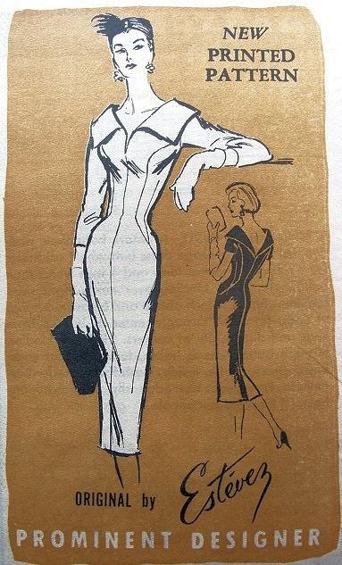 1950s PROMINENT DESIGNER ESTEVEZ PATTERN 793 FIGURE HUGGING SLIM COCKTAIL DRESS LOW V NECKLINES