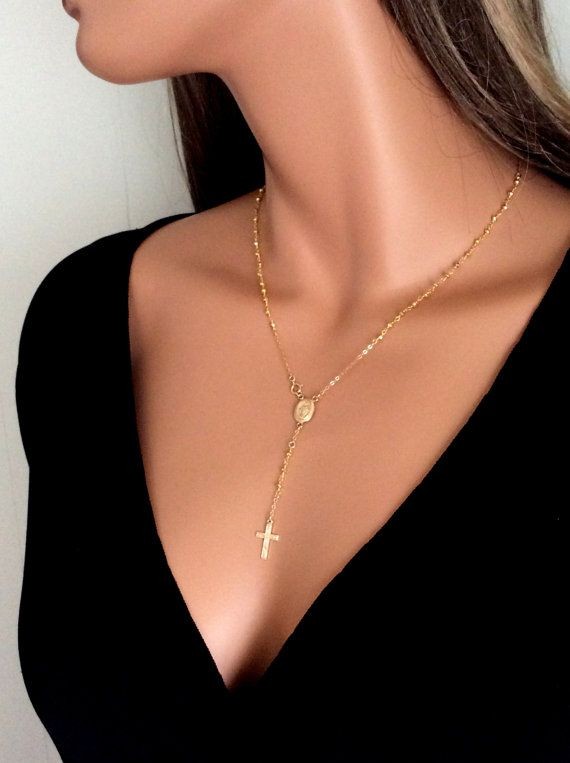 Gold Rosary Necklace Pyrite Gemstone 14kt Goldfilled  Inspired by Rosary Miraculous medal - Real Housewives of Beverly Hills, $85.00