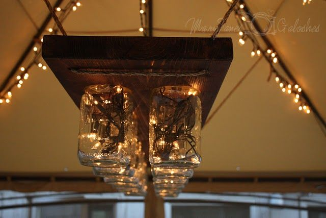DIY hanging light tutorial...I think I'd paint the wood and jazz it up a little. I love love white Christmas lights.