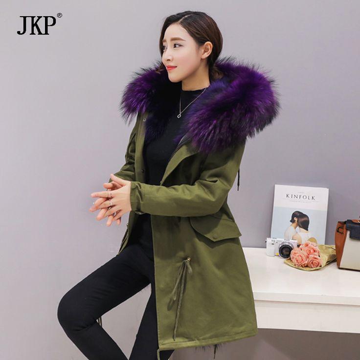 2017 nuevas mujeres de la moda Gran mapache cuello de piel con capucha parkas abrigo cálido forro de piel de Zorro largo invierno de la chaqueta | 32816859056_es