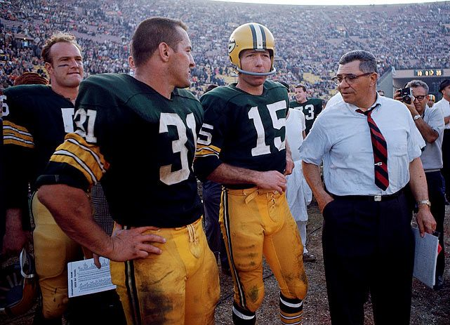 Hornung, Jim Taylor, Starr and coach Lombardi prepare for a game against the Kansas City Chiefs in 1967. Lombardi and Starr won all five of their championships together.
