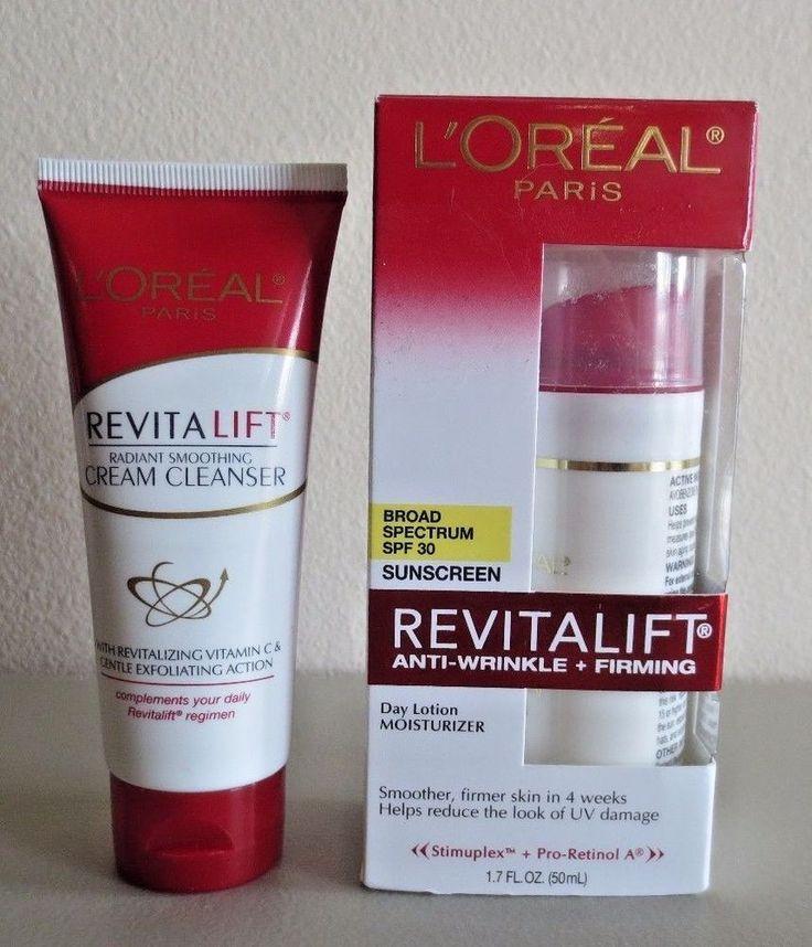 Lot of 2 L'oreal Revitalift SPF 30 Day Lotion Moisturizer Sunscreen & Cleanser #LOralParis